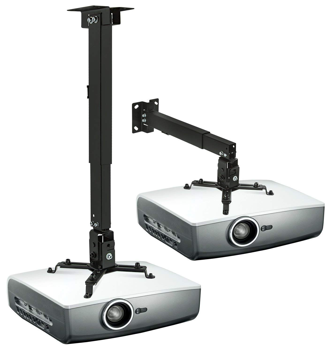 Universal Projector Ceiling Mount,LANMI Adjustable Mount,Length can be adjusted,17''-25.56'',for LCD/DLP Ceiling Projector Epson Optoma Benq ViewSonic(4365.black) by LANMI