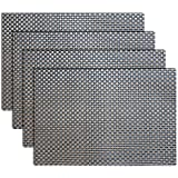 Placemats, Heat-resistant Placemats PVC Placemats Woven Vinyl Placemats Stain Resistant Anti-skid Non-slip Table Mats,Set of 4(Grey+gold)