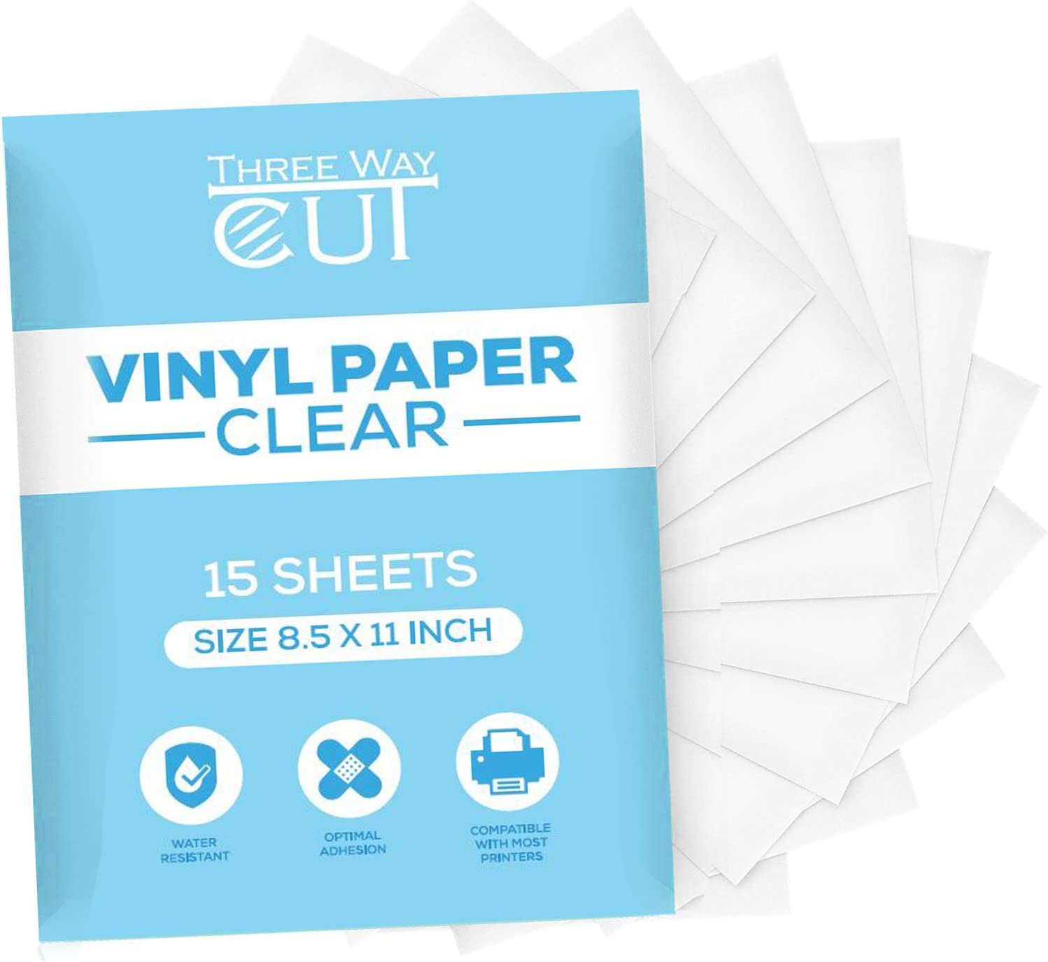 Printable Vinyl Sticker Paper Frosty Clear for Inkjet Printer 15 Sheets Transparent, Decal Paper Tear & Scratch Resistant Quick Ink Dry, Cricut Sticker Paper for Making Labels & Crafts
