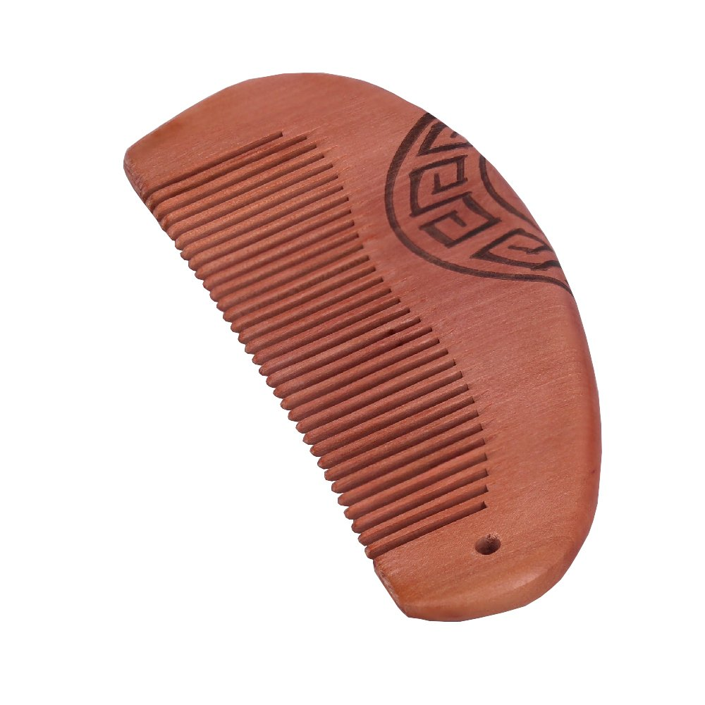 Molshine No Static Handmade Carved Natural Green Sandalwood Portable Wood Comb (01B)