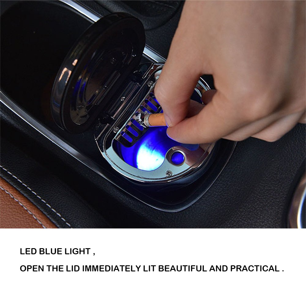 UTSAUTO Car Ashtray Stainless Steel Car Ashtray Cup Holder With/ Blue LED Light Indicator Smokeless for Most Car Cup Holder