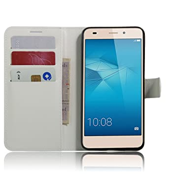 buy online 3be09 36016 SMTR Huawei Honor 7 lite Premium Leather Wallet case Cover Leather Wallet  Flip Cover with magnetic clasp for Huawei Honor 7 lite Smart Phone-White
