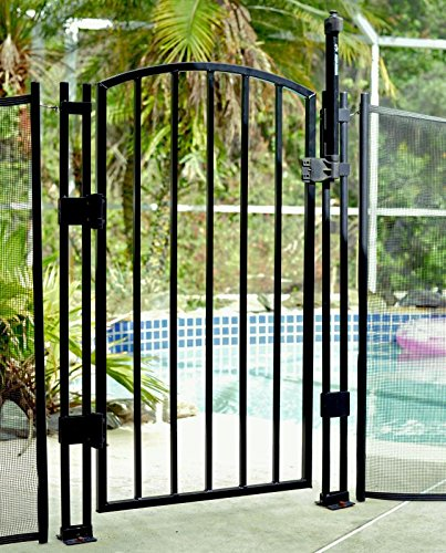 Sentry Safety Pool Fence 4' Tall Self Closing/ Self Latching Aluminum Child Pool Safety Fence Gate (Black, 4 Foot)