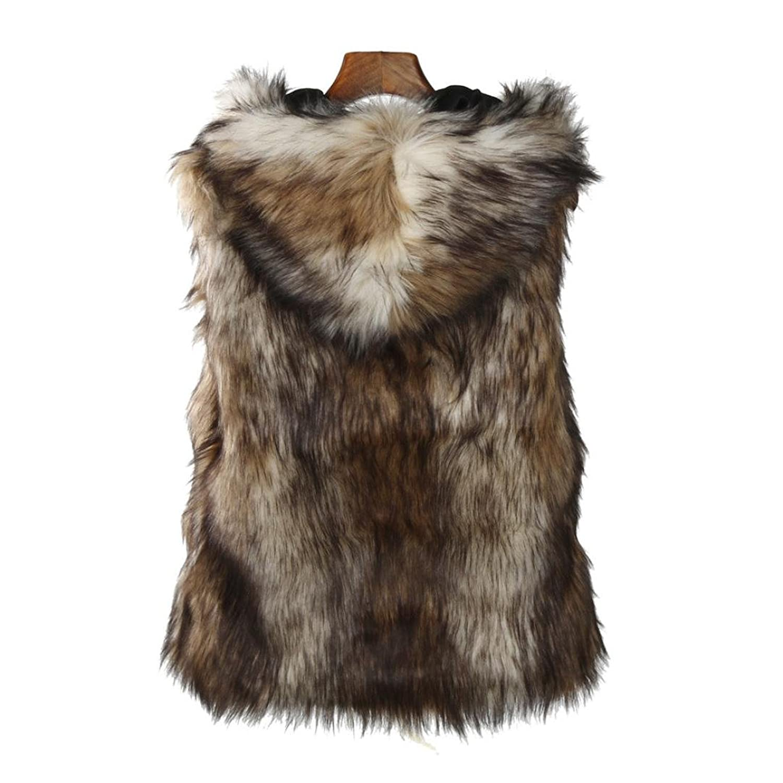 Creazy Women Faux Fur Vest Jacket Sleeveless Winter Warm Coat Hooded Waistcoat Gilet