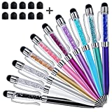 Stylus Pens, ChaoQ 10 Pcs 5.0 inch 2-in-1 Crystal Stylus and Ballpoint Pen for iPhone, iPad, Kindle Fire All Capacitive Touch Screen Devices, with 10 Extras Replaceable Rubber Tips