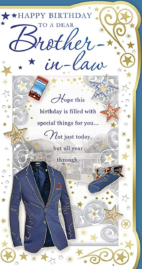 Cards Galore Online Brother In Law Birthday Card Happy Birthday Watch Blazer Phone 9 X 4 75 Amazon Co Uk Kitchen Home