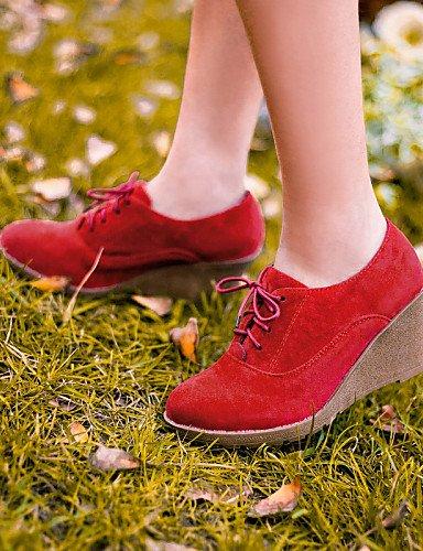Njx Hug Damen Schuhe Kunstleder Keilabsatz, Round Toe Heels Casual Casual Casual Schwarz Braun Rot mandel B01KHBS98Q Schnürhalbschuhe Sonderangebot 88094e