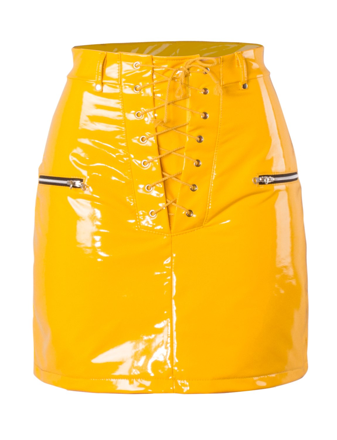 Sedrinuo Women's Party Bright PU Leather Skirts High Waist Bodycon Lace Up Skirts
