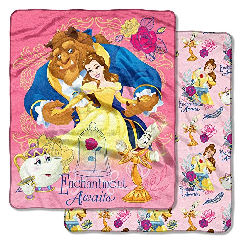 Beauty and the Beast,''Enchantment Awaits'' Double Sided Cloud Throw Blanket, 50'' x 60'' by Disney