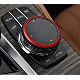 Duoles 1pc Aluminum Ring for BMW 1 2 3 4 5 6 7 Series X3 X4 X5 X6 Center Console iDrive Multimedia Controller Knob (Red)