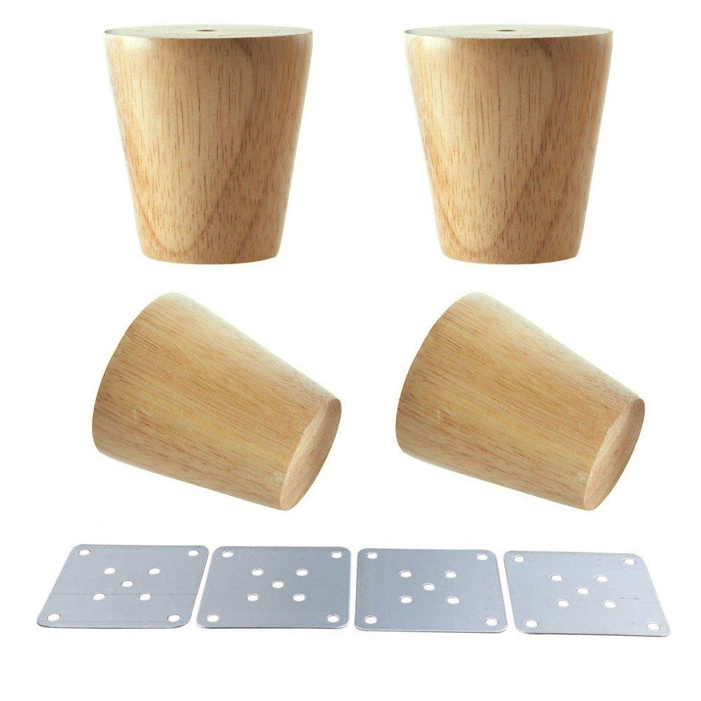 in legno naturale gambe coniche per mobili piedini in legno per armadietti e tavolini Glvanc confezione da 4 pezzi