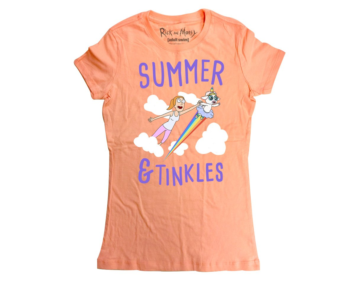 Ripple Junction Rick and Morty Summer & Tinkles Junior T-Shirt 2XL Light Orange