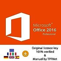 MS Office 2016 Professional Plus 32 Bit & 64 Bit - Original License Key by Post and E-mail + TPFNet® Guide - Shipping Maximum 60min