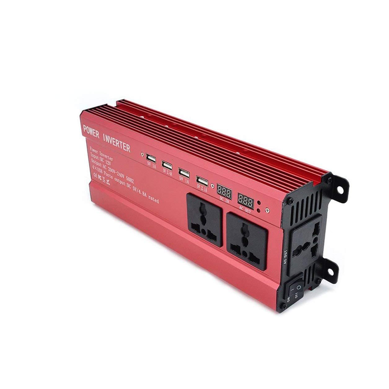 Dailyinshop/® Inverter Portatile per Auto per Auto da 2000 W con Display LCD 12V-220V Convertitore per Auto Alimentatore 4 Porte USB
