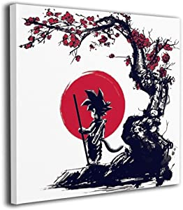 xianrenzhang Dragon Ball Z Son Goku Japan Anime Wall Art Photo HD Prints On Canvas,Ready to Hung Bedroom Toy Room Home Decorations For Anime Lovers Kids Square Frame 12X12IN
