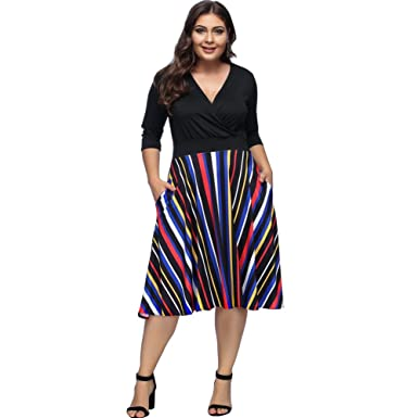 Lover-Beauty Womens Plus Size Maxi Dresses V Neck High Waist Striped Evening Party Dress