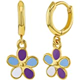"18k Gold Plated Enamel Dangle Flower Girls Hoop Earrings Kids 0.39"""