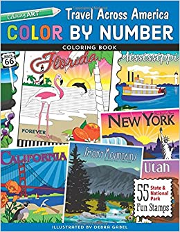 color by number travel across america coloring book 55 fun state national park stamps colouring books colour by numbers books amazoncouk debra - Color By Number Books