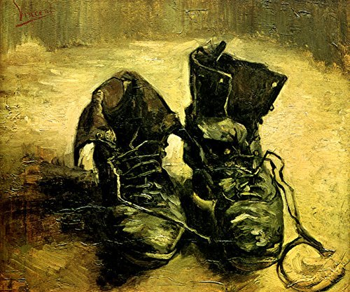 A PAIR OF SHOES OLD BOOTS 1886 IMPRESSIONIST PAINTING BY VINCENT VAN GOGH ON CANVAS -