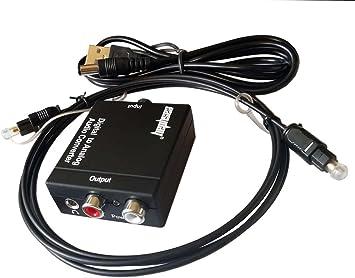 Toslink coaxial óptico Digital a RCA 3,5mm analógico convertidor de Audio con Cable óptico de 1.5m: Amazon.es: Electrónica
