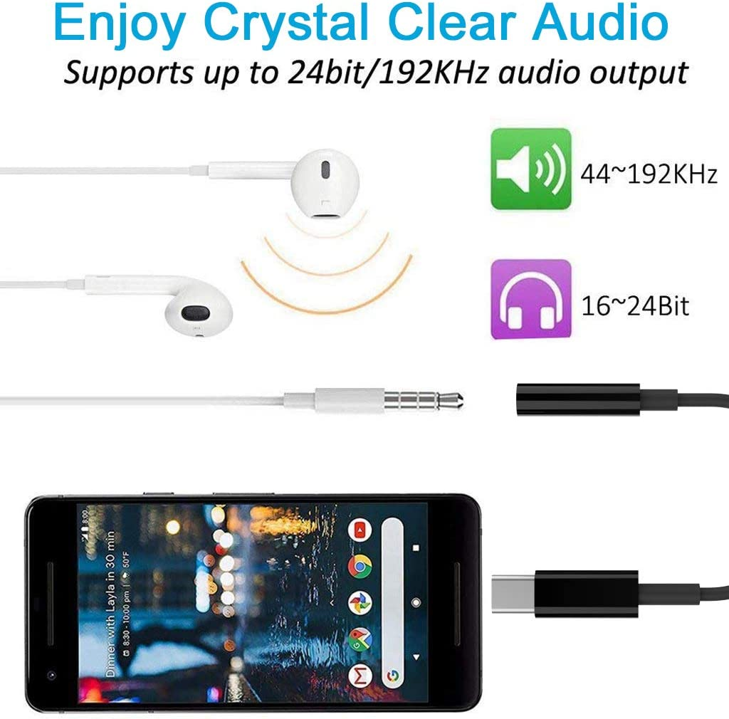 USB-C to 3.5mm Digital Audio Headphones Jack Adapter,Type-C Android Phone and Tablet to 3.5mm Compatible with iPad Pro 2018 //Galaxy S10//S9//Note10 //Pixel 4//3//2//XL//HTC U11//Essential and More-Black