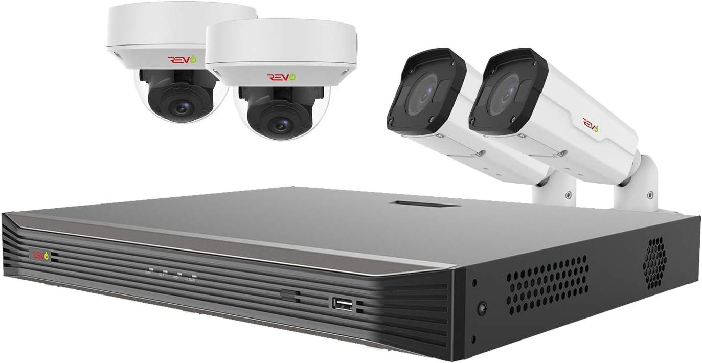 Revo America Ultra HD 8 Ch. 2TB HDD IP NVR Video Surveillance System, 2 x 4K IP Bullet 2 x 4K IP Vandal Dome Cameras Motorized Varifocal Lens – Remote Access via Smart Phone, Tablet, PC MAC