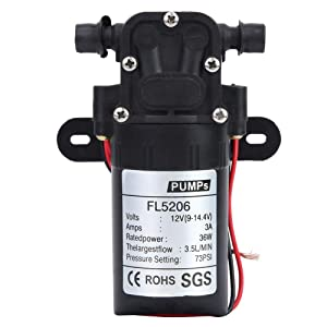 36W Diaphragm Pump, Mini Water Pump Double Straight Tube Agricultural Electric Diaphragm Water Pump for High Pressure Spray Equipment, Agricultural Sprayer(DC12V)