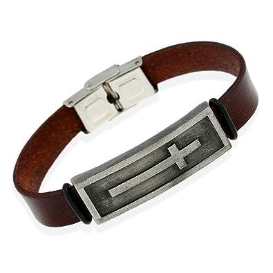 Amazon Com Mens Leather Bracelet Cross Bracelet Men S Leather