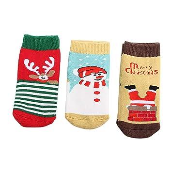 3 Pares Calcetines Invierno Bebe Calcetines de Navidad niños Calcetines Ocasionales Lindos De La Navidad De Los Niños del Bebé Calcetines(0~1 años): ...