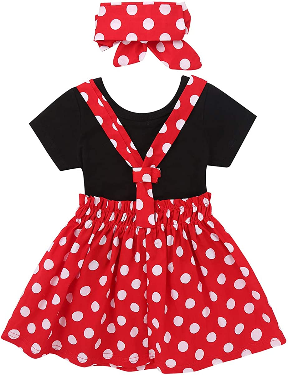 ACSUSS Toddlers Infant Baby Girls Cotton Pleated Polka Dots Buttons Suspender Skirt with Bowknot Hair Clips