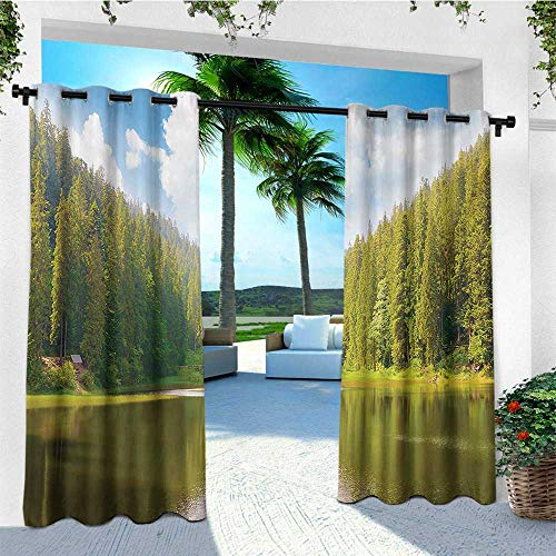 - leinuoyi Landscape, Outdoor Curtain Wall, Mountain Landscape in Forest by The Lake Summer Season Countryside Photo, Outdoor Patio Curtains W84 x L96 Inch Green Blue White