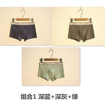 yalanshop Bóxer Cómodo Calzoncillos para Hombre Ropa Interior De Fibra De Bambú Color Sólido Pantalón Rayado