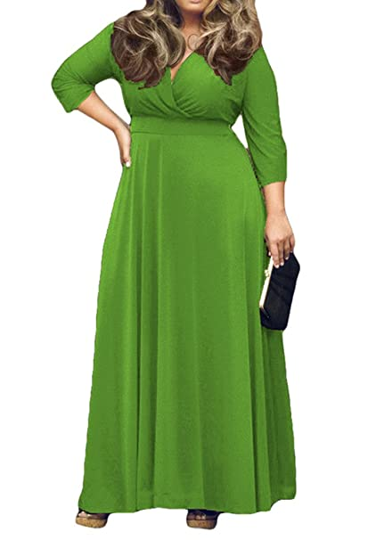 AM CLOTHES Womens V-Neck 3/4 Sleeve Plus Size Evening Party Maxi Dress