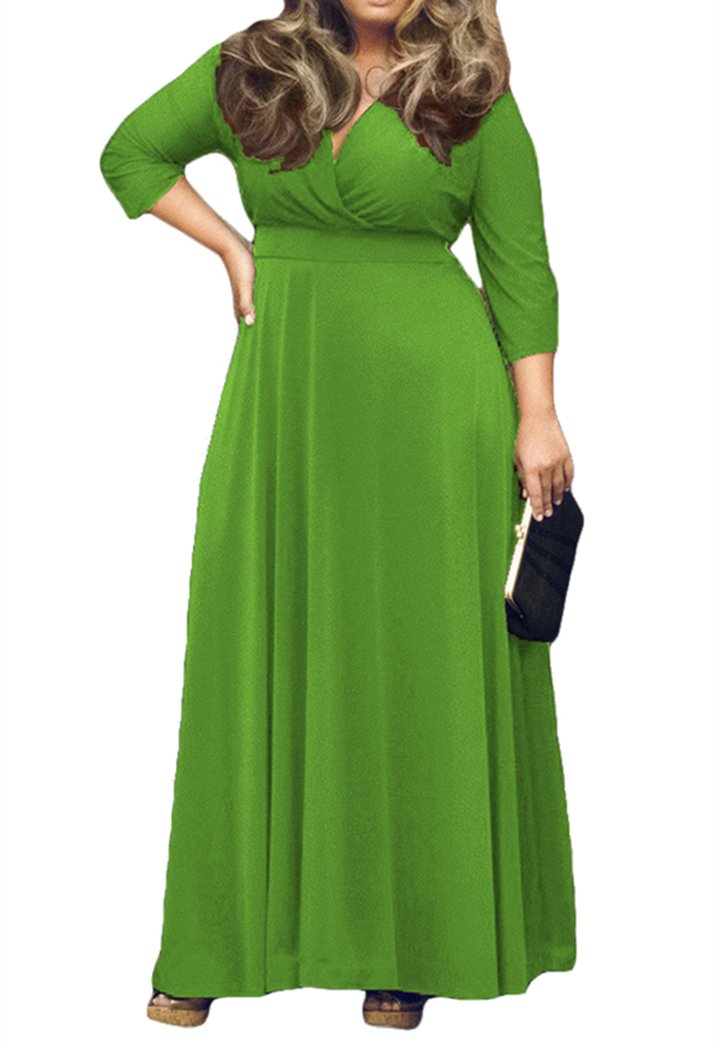 44cf6a9b62c AM CLOTHES Womens V-Neck 3/4 Sleeve Plus Size Evening Party Maxi Dress 0X  Apple Green
