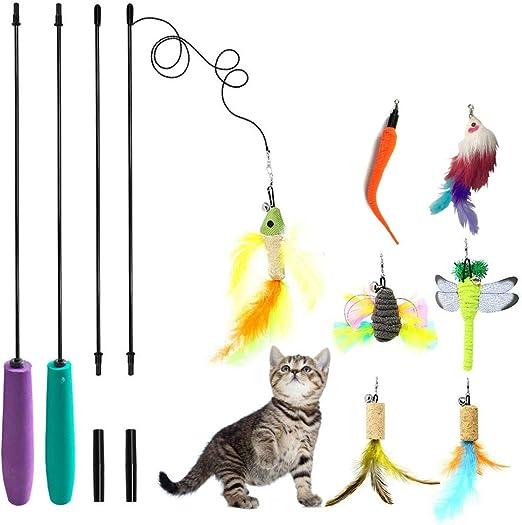 Gato Pluma Juguete Mejor Varita Catnip Juguetes Interactivo Formación Ratón Mariposa Pájaro Libélula para Gatos,9 Piezas: Amazon.es: Productos para mascotas