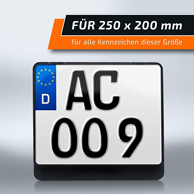 Schildevo Kennzeichenhalter 250 X 200 Mm Schwarz Zweizeilig Motorrad Roller Quad Anhänger Lkw Suv Dhl Versand Auto