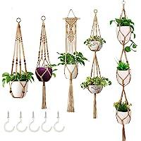 Macetero colgante de 5 piezas con 5 ganchos Colgadores para plantas de macramé Colgador para plantas Plantas de interior…