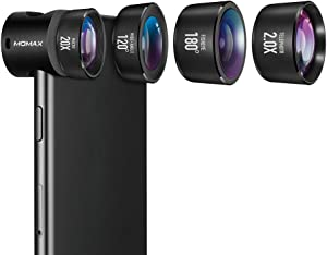 MOMAX Professional iPhone 8/7 Plus Camera Lens Pro,120°Wide Angle Lens+180° Fisheye Lens+20X Macro Lens+2X Telephoto Phone Camera Lens Kit with Clips for iPhone 7 Plus and iPhone Series (Black)