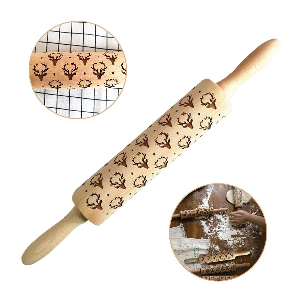 Christmas Embossing Rolling Pins, Solid Wood Engraved Rolling Pin Deer Head Pattern Shaped Decorating Cookies Tarts, Ultimate Kitchen Utensils Christmas Gingerbread Gati-way