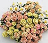100 pcs mini Rose mixed Yellow color Mulberry Paper Flower 10 mm scrapbooking wedding doll house supplies card By' Thai decorated.