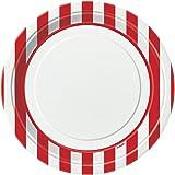 Unique Party - 38005 - Paquet de 8 Assiettes - Carton - Motif Rayé - 23 cm - Rouge