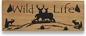 AvalonSkies Wildlife Country Decor for Home Wall Decorations for Living Room Rustic Kitchen Cabin Deer Elk Moose (6 x 16 inches) - Wood Plaque Hunting Cabin Lodge Farmhouse