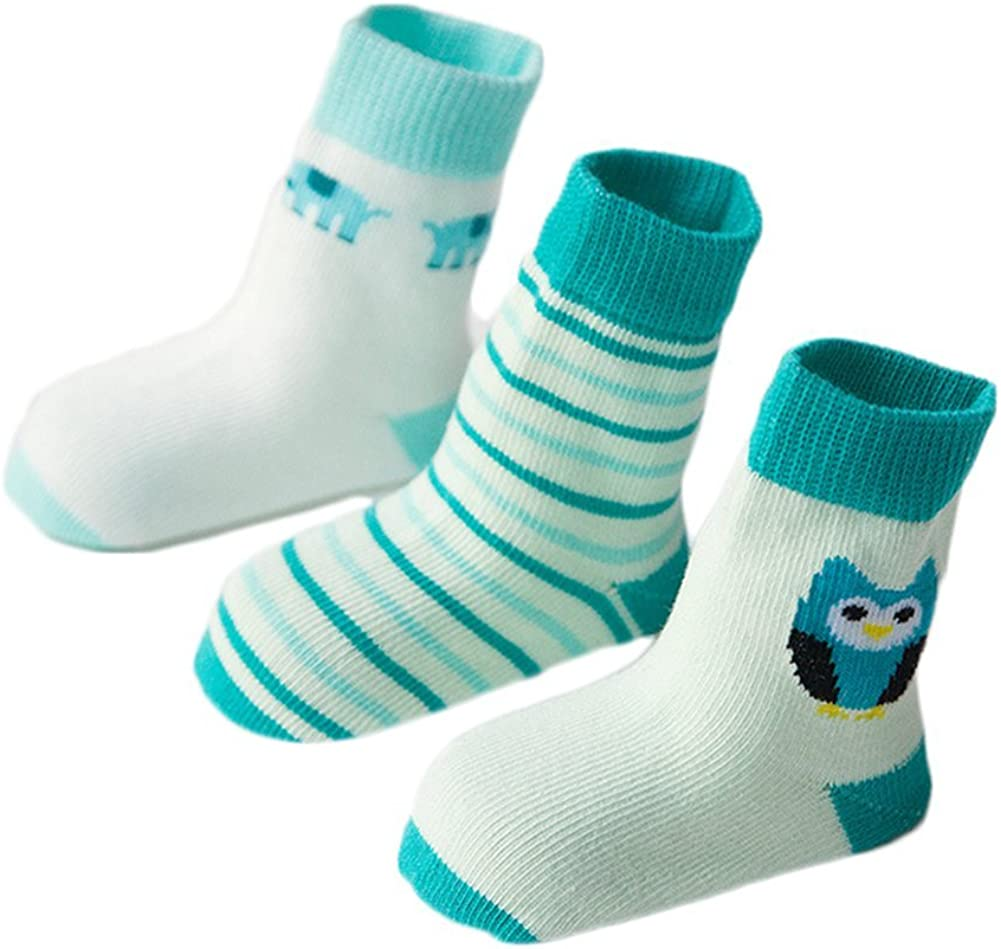 , Green M Zekyy Baby Toddler Socks Kids Cotton Socks Non-Skid Unisex Children Carton Different Style 3 Pairs Thick,1-3Y