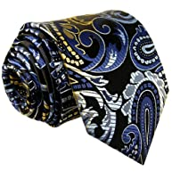 Shlax & Wing Extra Long Necktie Tie Paisley Blue Multi-color Silk Wedding Classic