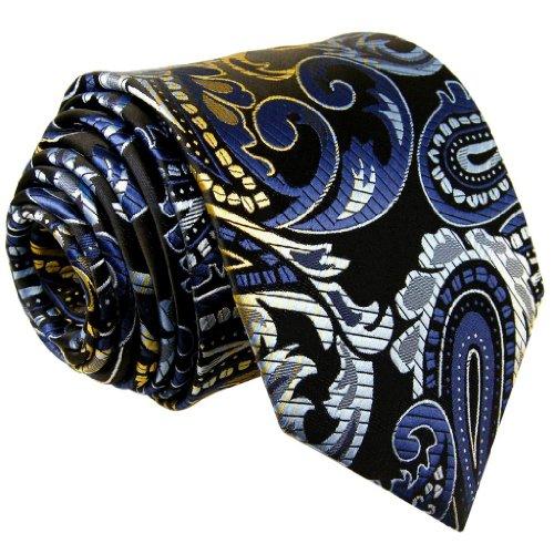 Blue Multi Color Tie (Shlax & Wing Extra Long Necktie Tie Paisley Blue Multi-color Silk Wedding Party Classic)