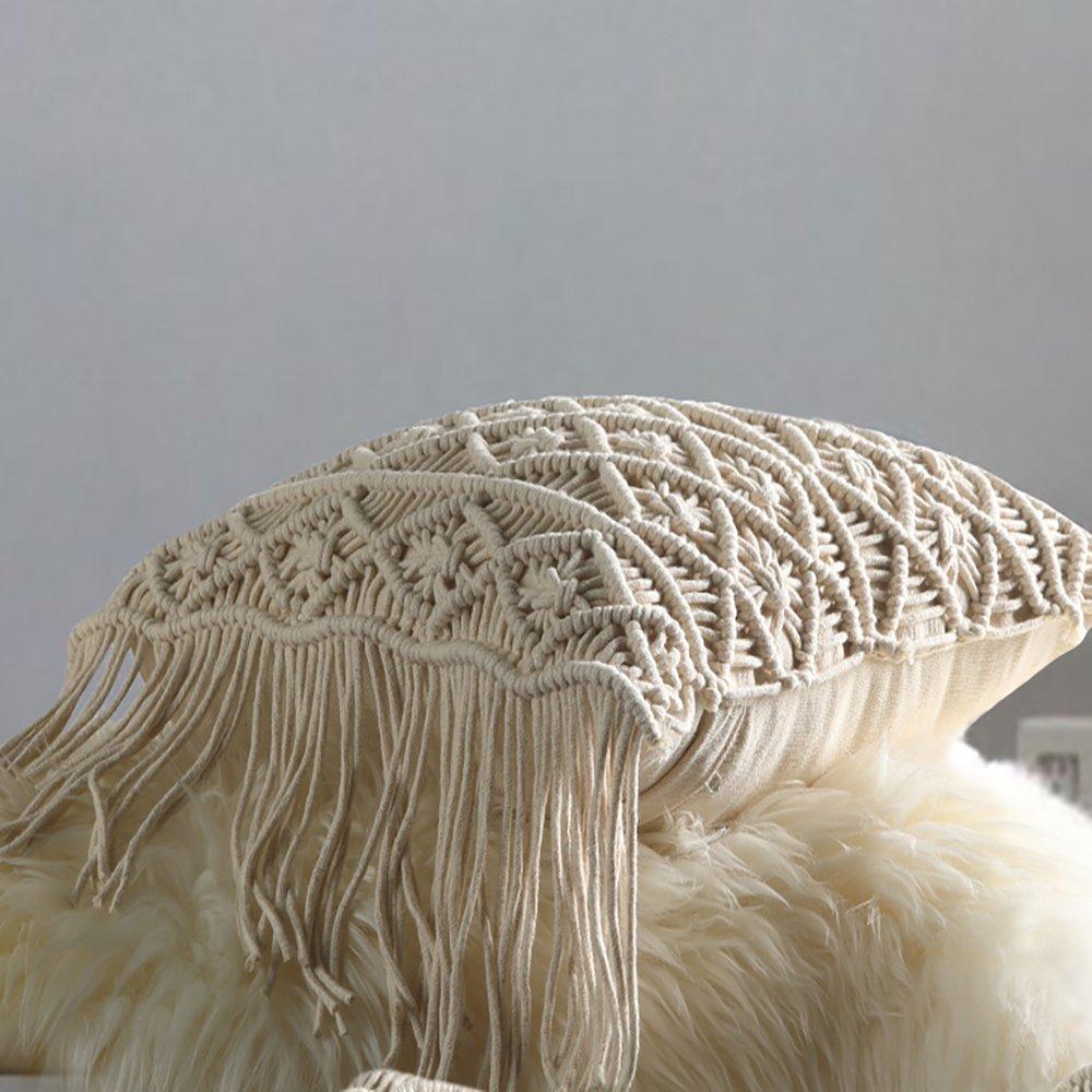 Amazon.com: Boho - Almohadas decorativas de macramé con ...