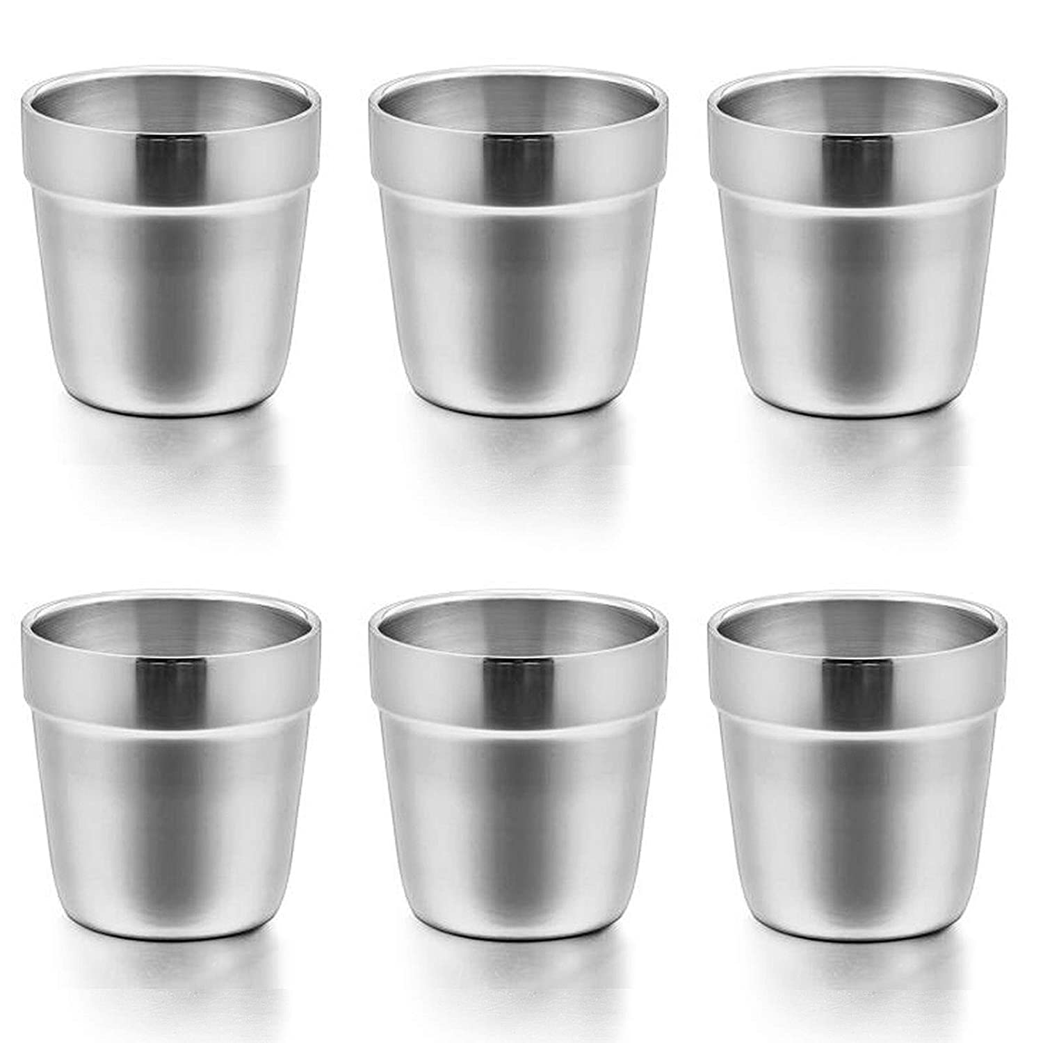 Cups for Toddlers Kids, E-far 6 Ounce Stainless Steel Insulated Tumblers for Children Preschoolers, Training & Transition, Double Wall & Shatterproof, Mirror Polished & Dishwasher Safe - 6 Pack