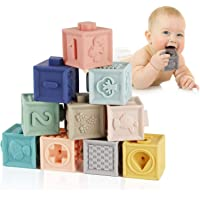 Mini Blocks Soft Building Blocks Toys Teethers Toy Educational Squeeze Play with Numbers Animals Shapes Textures 6…