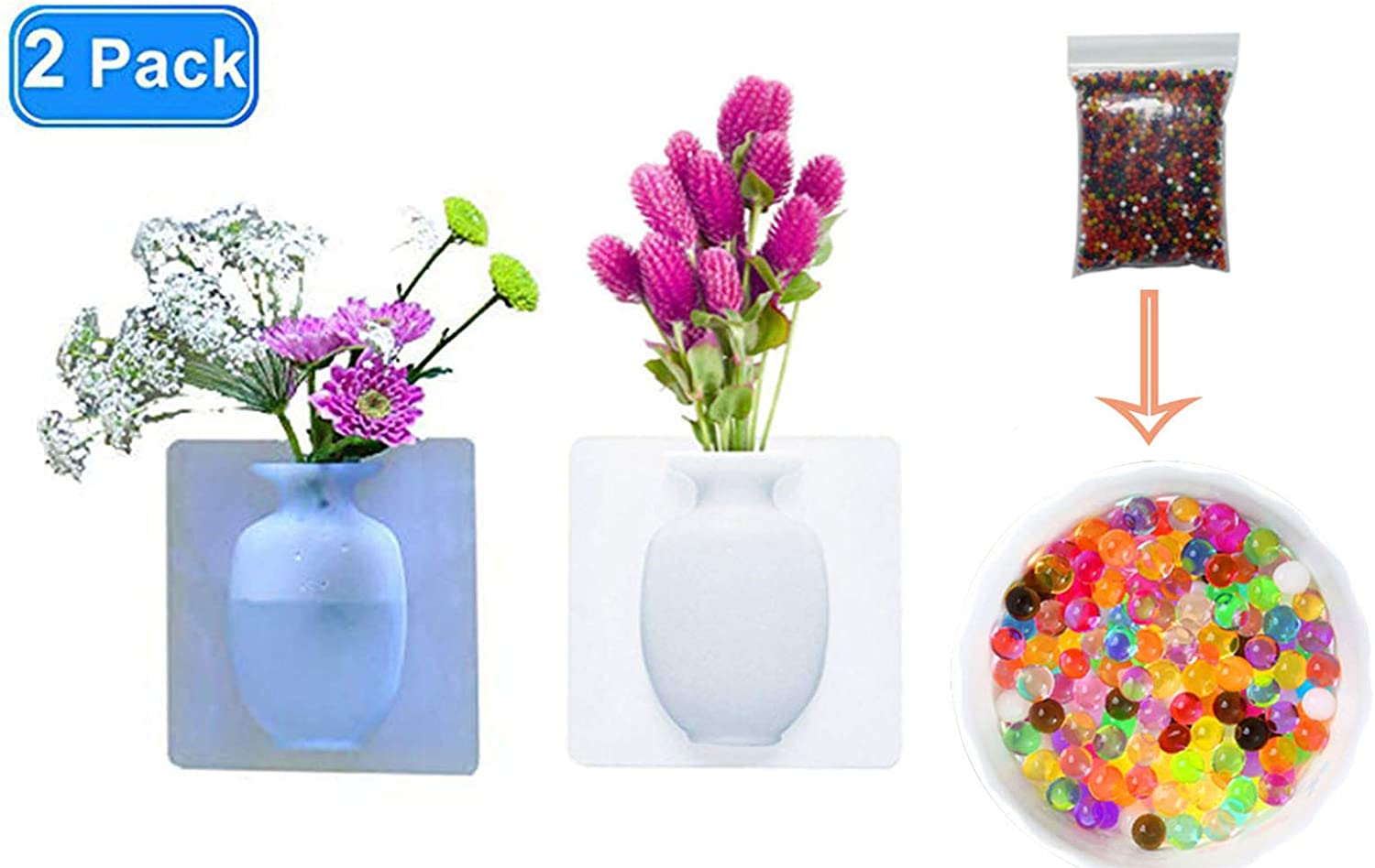 smylls Silicone Flower Vase Removable Self-Adhesive Wall Mount Vase for Wedding Festival Party Home Office Decoration