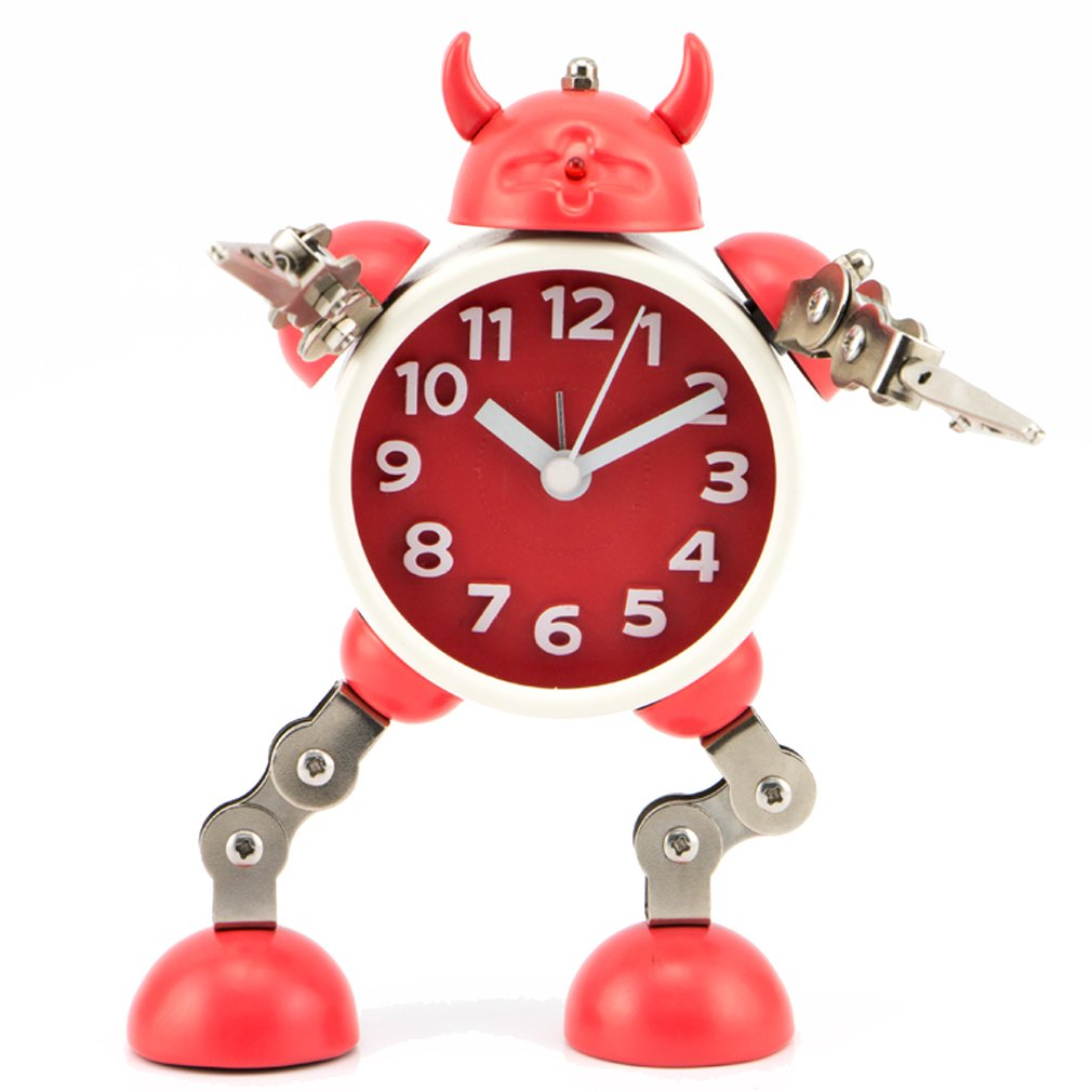 PiLife Cool Metal Robot Alarm Clock for Kids, Flashing Lights ,Free to Make Poses, with Card or Note Holder, Battery-operated ,Gift to Children (Small Red)